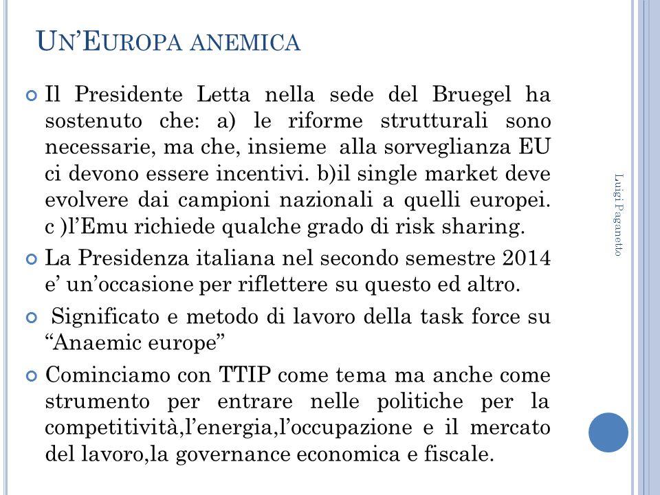 U N 'E UROPA ANEMICA Il Presidente Letta nella sede del Bruegel ha sostenuto che: a) le riforme strutturali sono necessarie, ma che, insieme alla sorv