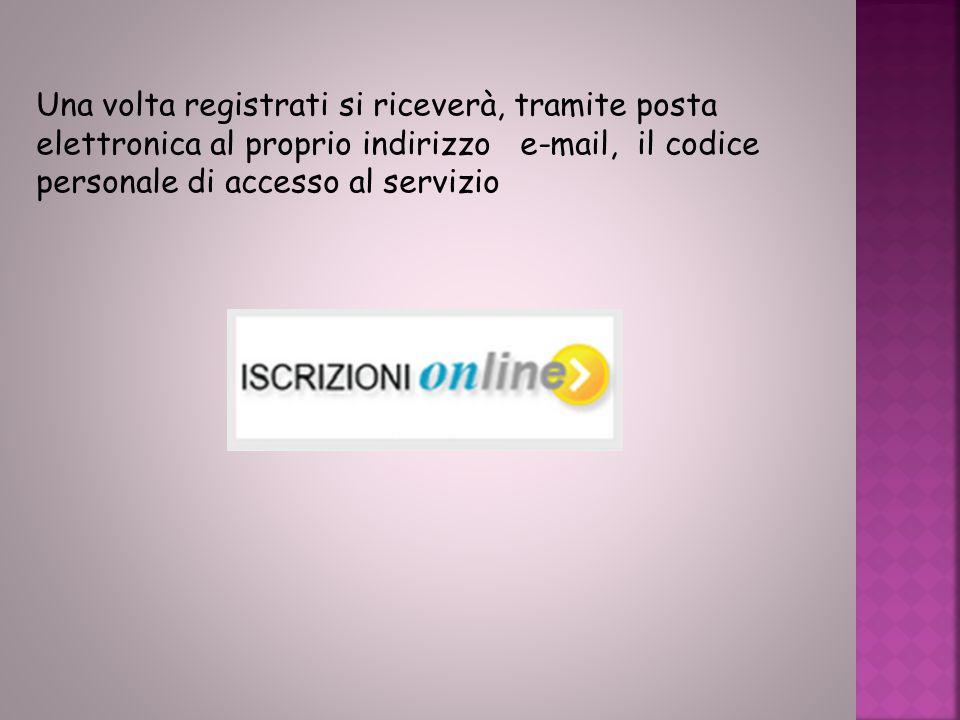 Una volta registrati si riceverà, tramite posta elettronica al proprio indirizzo e-mail, il codice personale di accesso al servizio