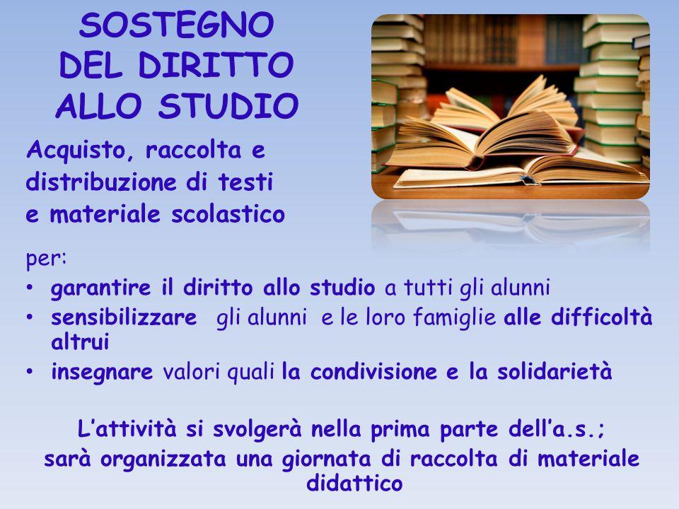 SOSTEGNO DEL DIRITTO ALLO STUDIO Acquisto, raccolta e distribuzione di testi e materiale scolastico per: garantire il diritto allo studio a tutti gli