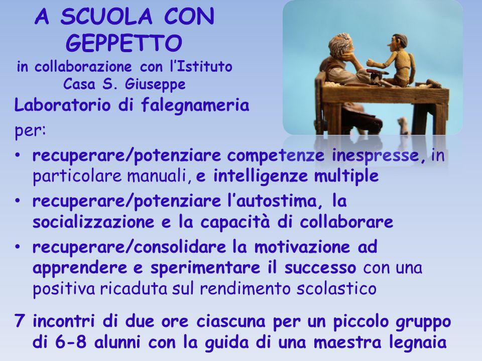 A SCUOLA CON GEPPETTO in collaborazione con l'Istituto Casa S. Giuseppe Laboratorio di falegnameria per: recuperare/potenziare competenze inespresse,