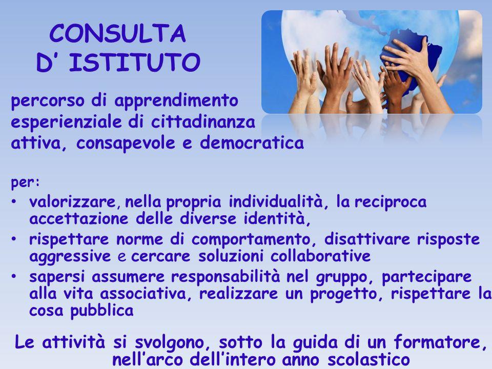 CONSULTA D' ISTITUTO percorso di apprendimento esperienziale di cittadinanza attiva, consapevole e democratica per: valorizzare, nella propria individ