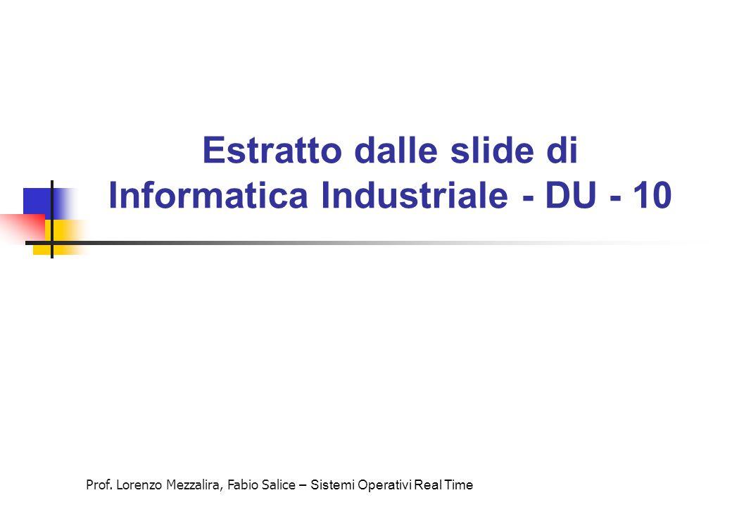 Prof. Lorenzo Mezzalira, Fabio Salice – Sistemi Operativi Real Time Estratto dalle slide di Informatica Industriale - DU - 10