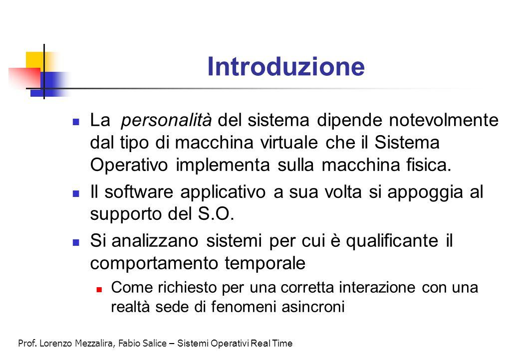 Prof. Lorenzo Mezzalira, Fabio Salice – Sistemi Operativi Real Time Introduzione La personalità del sistema dipende notevolmente dal tipo di macchina