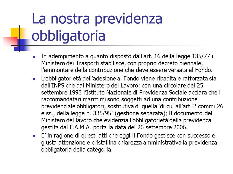 La nostra previdenza obbligatoria In adempimento a quanto disposto dall'art. 16 della legge 135/77 il Ministero dei Trasporti stabilisce, con proprio