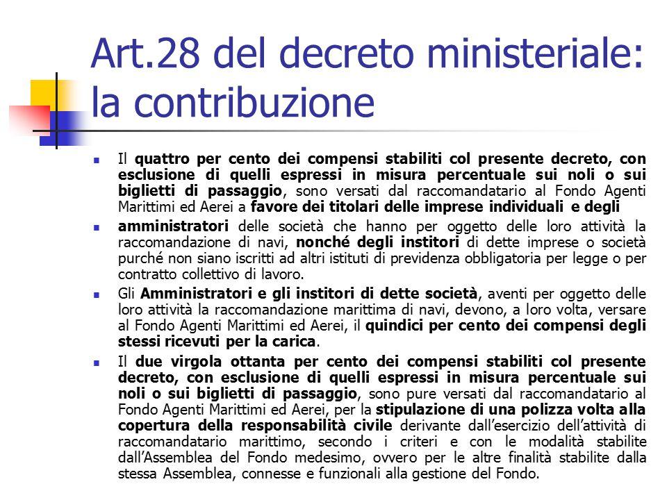 Art.28 del decreto ministeriale: la contribuzione Il quattro per cento dei compensi stabiliti col presente decreto, con esclusione di quelli espressi