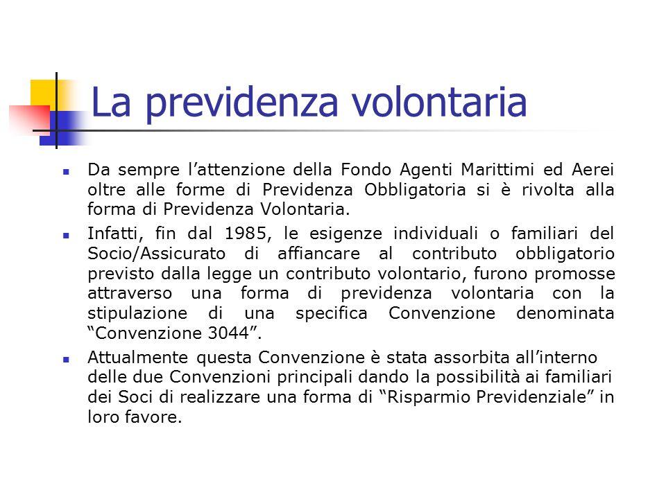 La previdenza volontaria Da sempre l'attenzione della Fondo Agenti Marittimi ed Aerei oltre alle forme di Previdenza Obbligatoria si è rivolta alla fo