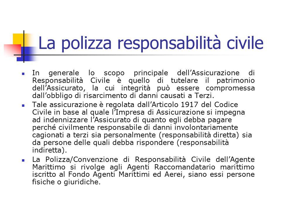 La polizza responsabilità civile In generale lo scopo principale dell'Assicurazione di Responsabilità Civile è quello di tutelare il patrimonio dell'A