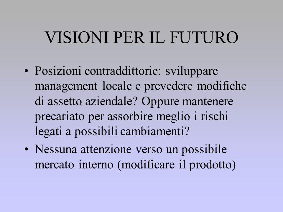 VISIONI PER IL FUTURO Posizioni contraddittorie: sviluppare management locale e prevedere modifiche di assetto aziendale.