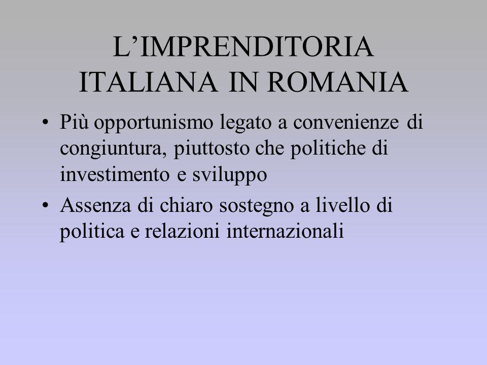 L'IMPRENDITORIA ITALIANA IN ROMANIA Più opportunismo legato a convenienze di congiuntura, piuttosto che politiche di investimento e sviluppo Assenza di chiaro sostegno a livello di politica e relazioni internazionali