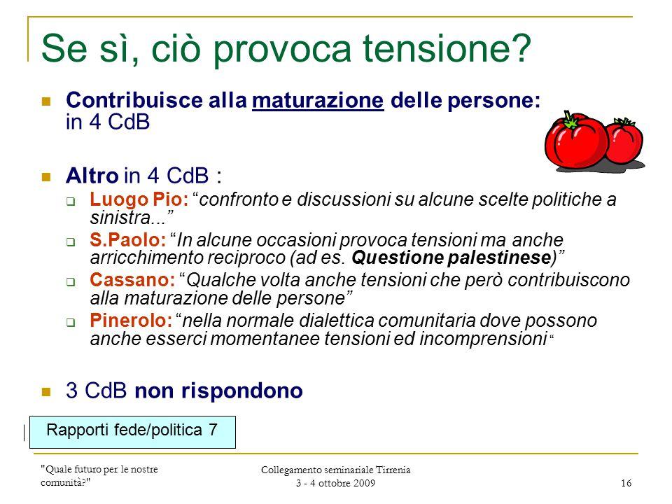 Quale futuro per le nostre comunità Collegamento seminariale Tirrenia 3 - 4 ottobre 2009 16 Se sì, ciò provoca tensione.