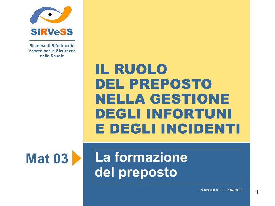 1 IL RUOLO DEL PREPOSTO NELLA GESTIONE DEGLI INFORTUNI E DEGLI INCIDENTI La formazione del preposto SiRVeSS Sistema di Riferimento Veneto per la Sicur