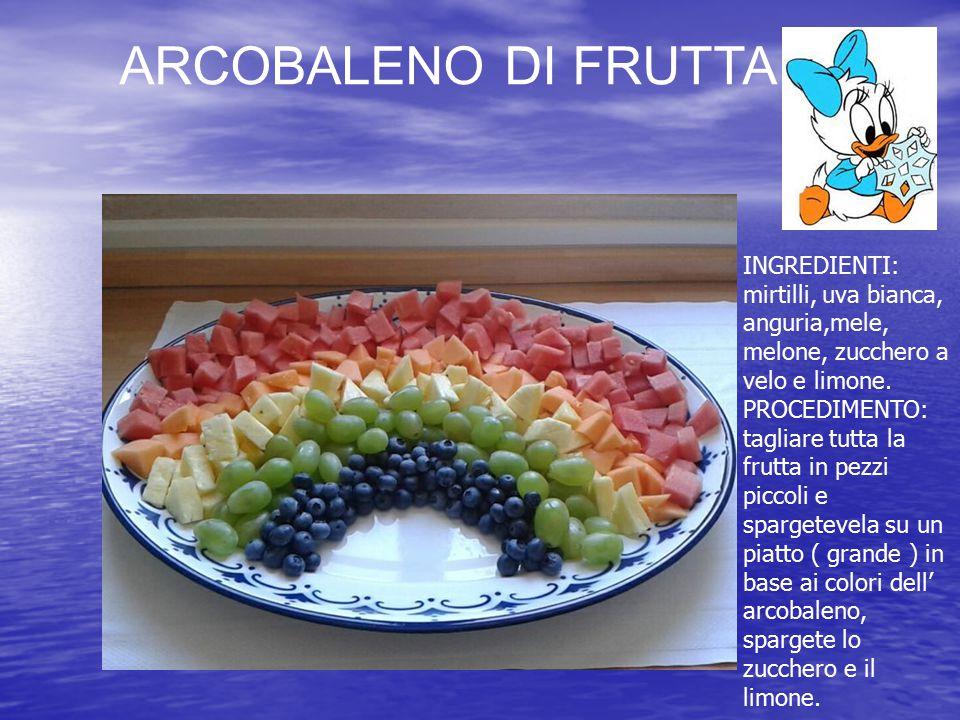 ARCOBALENO DI FRUTTA INGREDIENTI: mirtilli, uva bianca, anguria,mele, melone, zucchero a velo e limone. PROCEDIMENTO: tagliare tutta la frutta in pezz