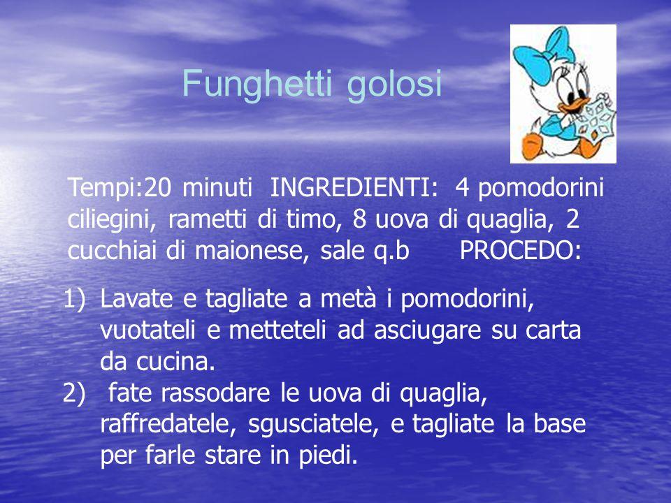 Funghetti golosi Tempi:20 minuti INGREDIENTI: 4 pomodorini ciliegini, rametti di timo, 8 uova di quaglia, 2 cucchiai di maionese, sale q.b PROCEDO: 1)