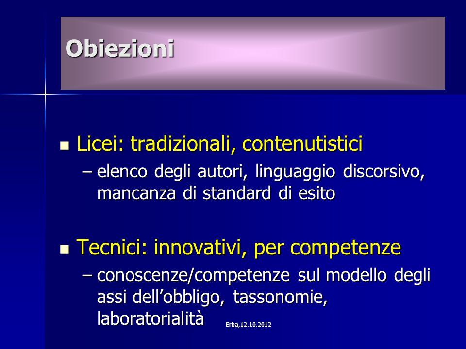 Licei: tradizionali, contenutistici Licei: tradizionali, contenutistici –elenco degli autori, linguaggio discorsivo, mancanza di standard di esito Tec