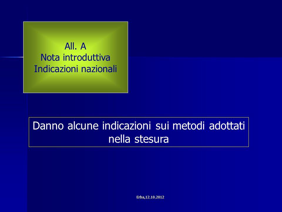 All. A Nota introduttiva Indicazioni nazionali Danno alcune indicazioni sui metodi adottati nella stesura Erba,12.10.2012