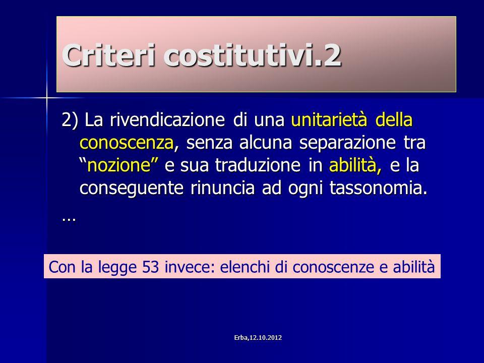 """Criteri costitutivi.2 2) La rivendicazione di una unitarietà della conoscenza, senza alcuna separazione tra """"nozione"""" e sua traduzione in abilità, e l"""