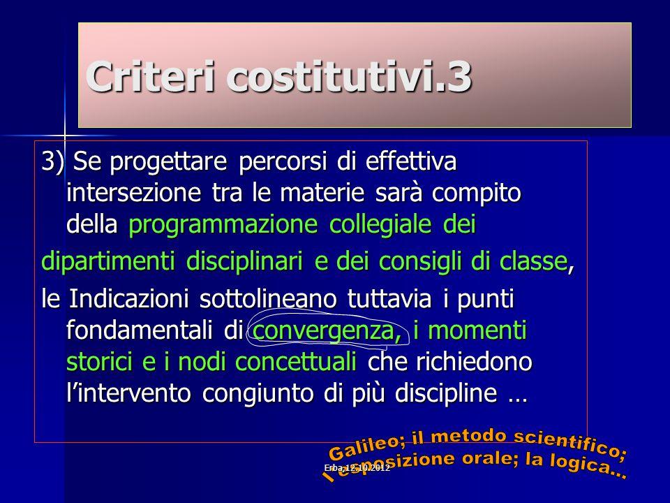 Criteri costitutivi.3 3) Se progettare percorsi di effettiva intersezione tra le materie sarà compito della programmazione collegiale dei dipartimenti