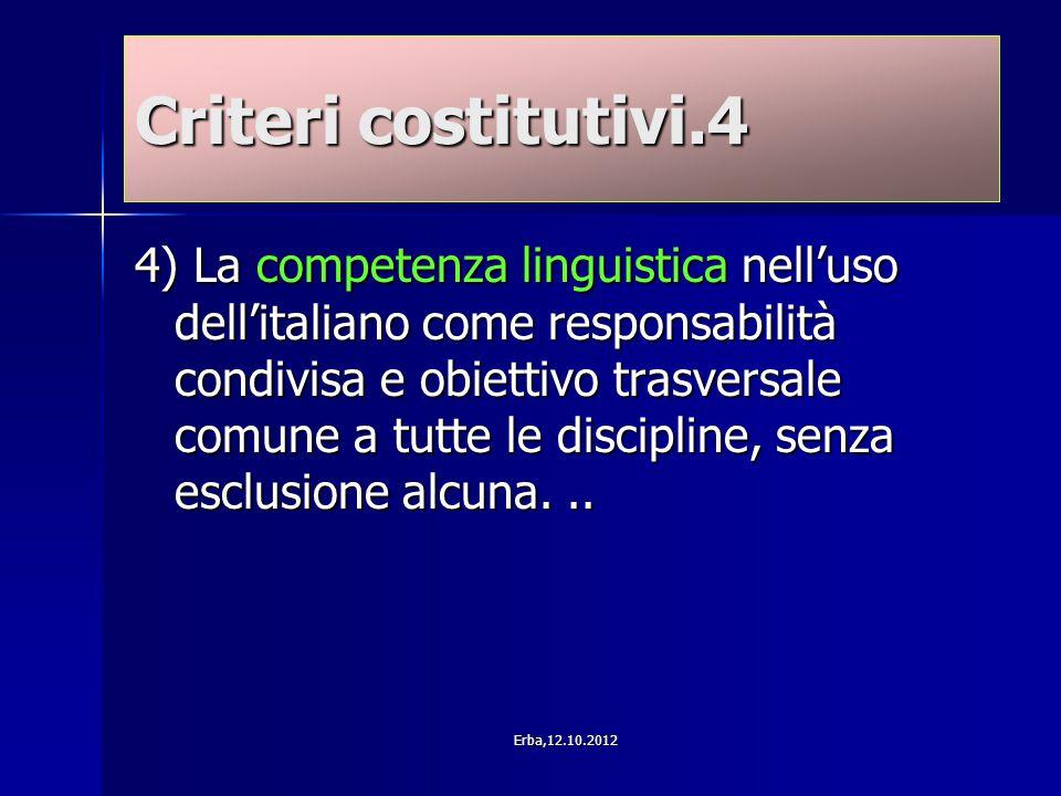 Criteri costitutivi.4 4) La competenza linguistica nell'uso dell'italiano come responsabilità condivisa e obiettivo trasversale comune a tutte le discipline, senza esclusione alcuna...