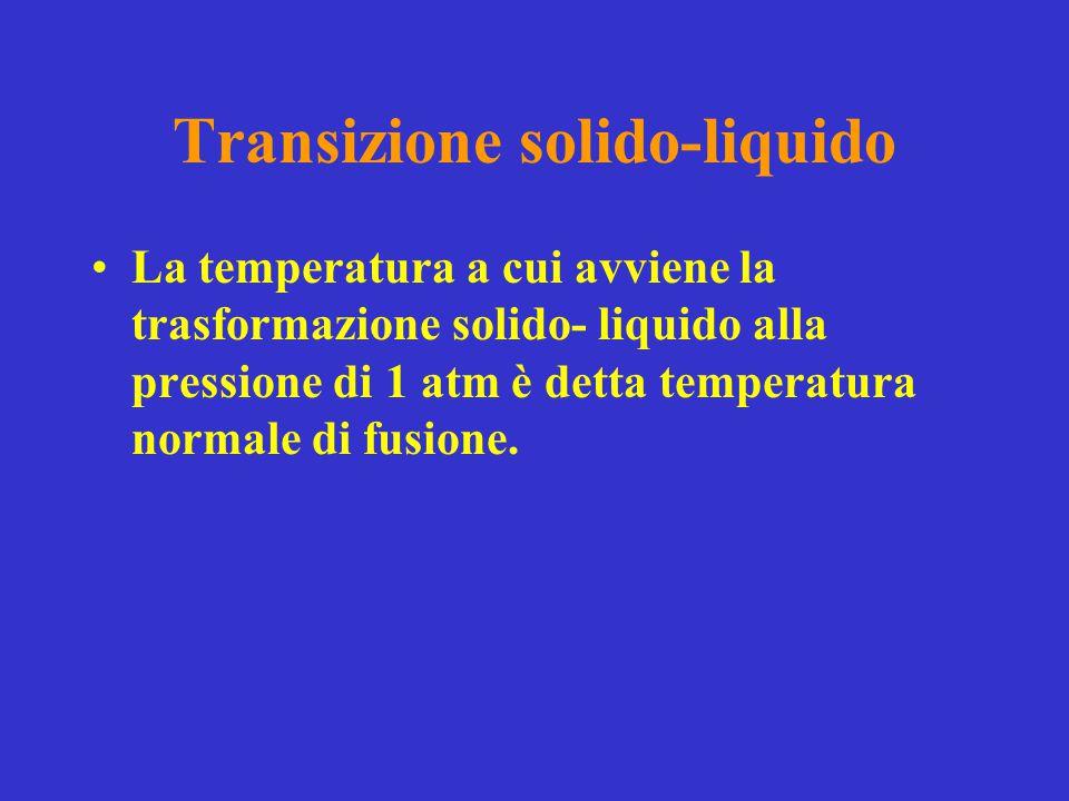 Transizione solido-liquido La temperatura a cui avviene la trasformazione solido- liquido alla pressione di 1 atm è detta temperatura normale di fusio