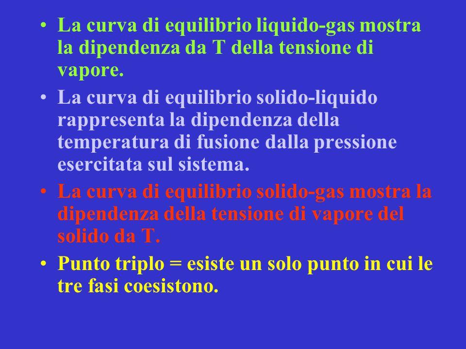 La curva di equilibrio liquido-gas mostra la dipendenza da T della tensione di vapore. La curva di equilibrio solido-liquido rappresenta la dipendenza