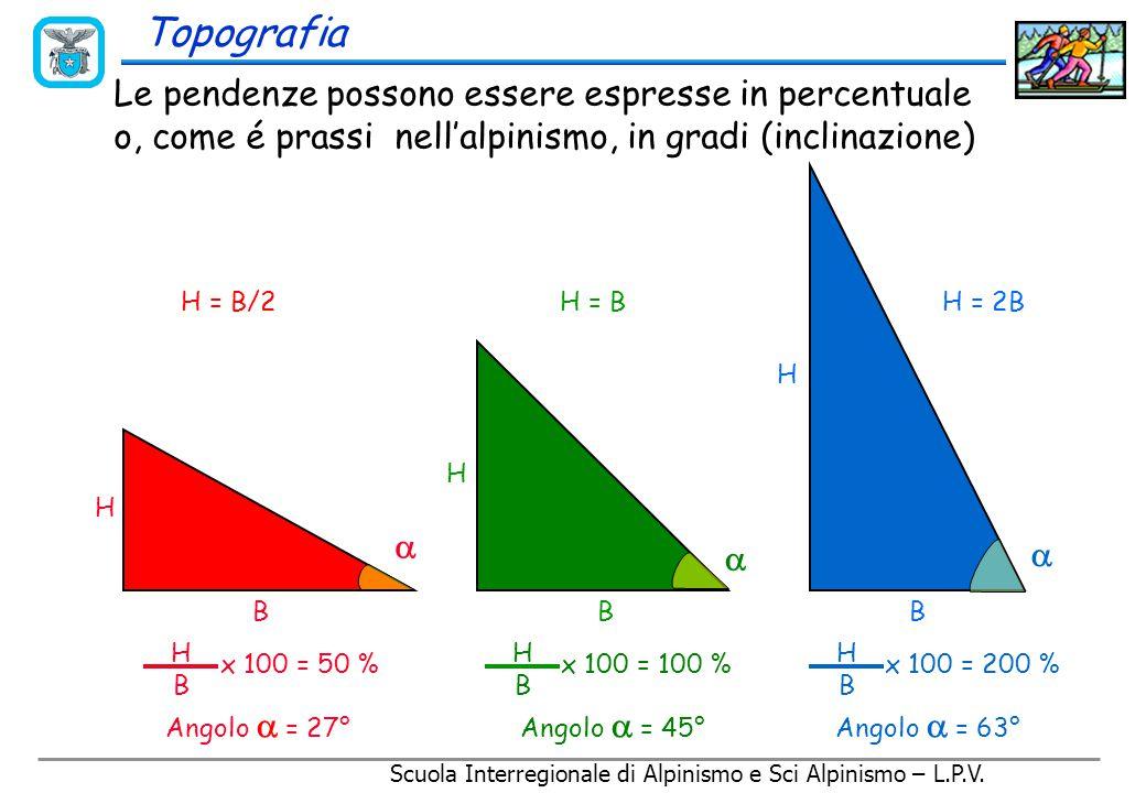 Scuola Interregionale di Alpinismo e Sci Alpinismo – L.P.V. Curve di livello e pendenze 20 m 4000 4071 + 20 m Le carte rappresentano la superficie del