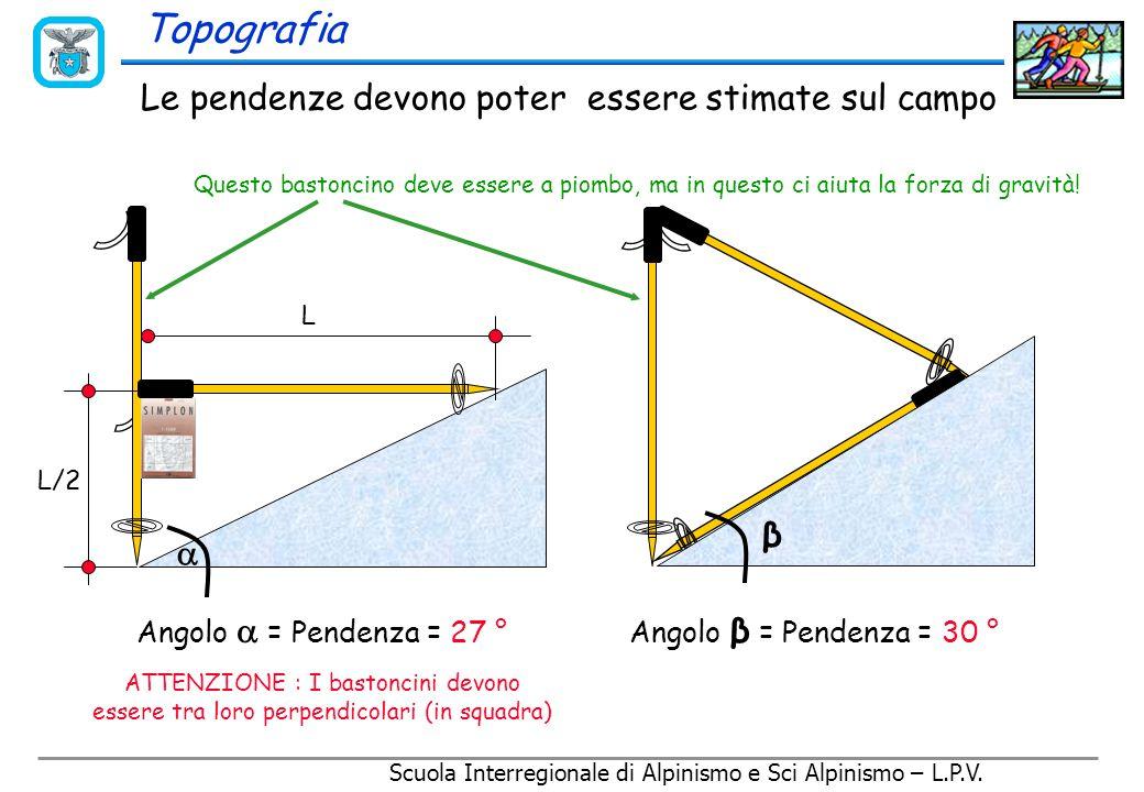Scuola Interregionale di Alpinismo e Sci Alpinismo – L.P.V. Topografia 20 m La pendenza valutata sulla carta può essere molto diversa da quella reale