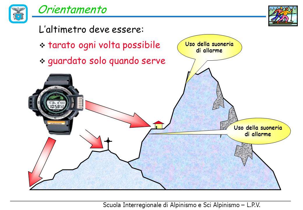 Scuola Interregionale di Alpinismo e Sci Alpinismo – L.P.V. Orientamento L'altimetro Strumento che misura l'altezza rispetto al livello del mare, attr