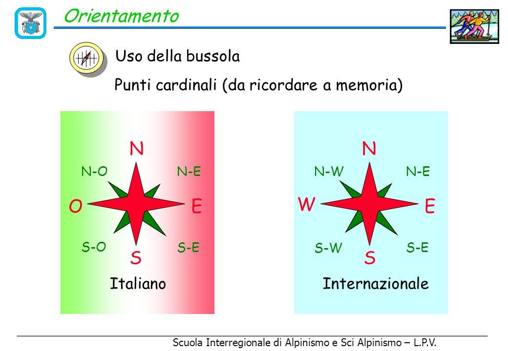 Scuola Interregionale di Alpinismo e Sci Alpinismo – L.P.V. Orientamento La bussola La bussola serve per: 1. Individuare il Nord 2. Misurare degli ang