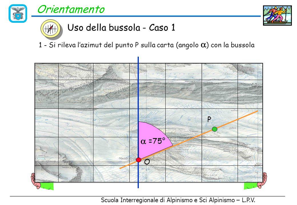 Scuola Interregionale di Alpinismo e Sci Alpinismo – L.P.V. Orientamento Uso della bussola - Caso 1 Individuazione di un punto P sul terreno a partire