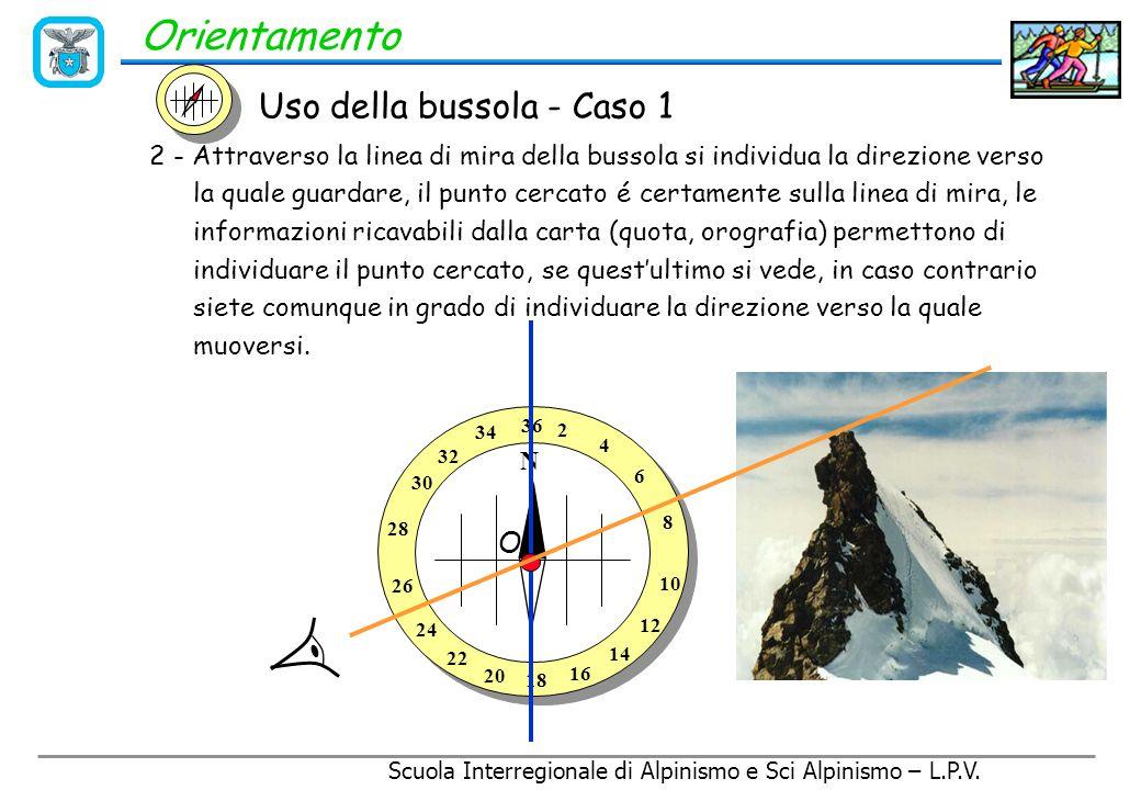 Scuola Interregionale di Alpinismo e Sci Alpinismo – L.P.V. Orientamento 1 - Si rileva l'azimut del punto P sulla carta (angolo  ) con la bussola  =