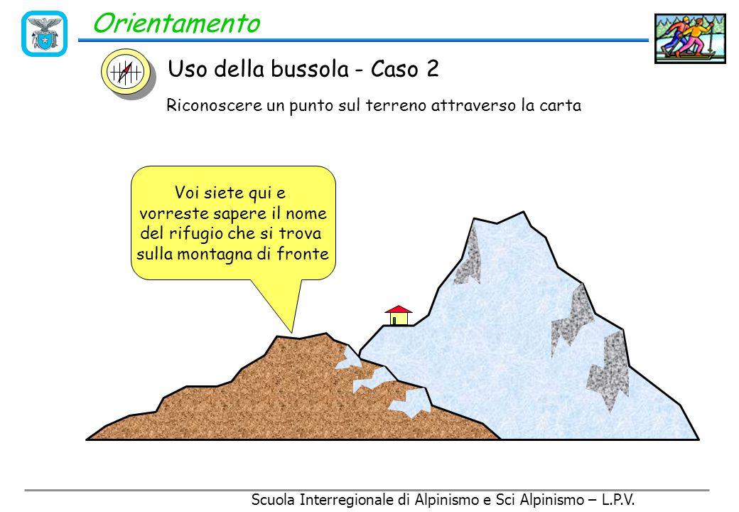 Scuola Interregionale di Alpinismo e Sci Alpinismo – L.P.V. Orientamento 2 - Attraverso la linea di mira della bussola si individua la direzione verso
