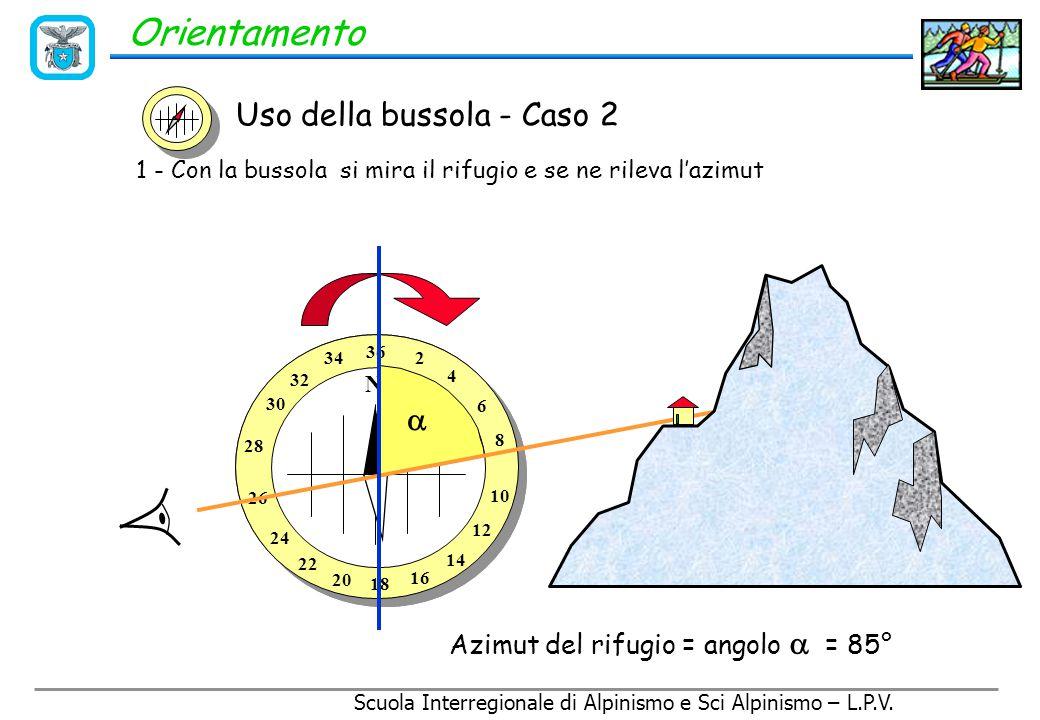 Scuola Interregionale di Alpinismo e Sci Alpinismo – L.P.V. Orientamento Uso della bussola - Caso 2 Riconoscere un punto sul terreno attraverso la car