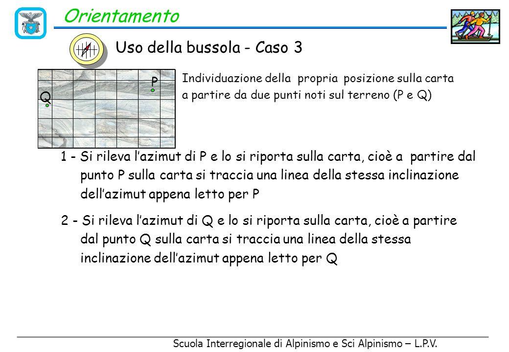 Scuola Interregionale di Alpinismo e Sci Alpinismo – L.P.V. Orientamento Uso della bussola - Caso 3 Individuazione della propria posizione sulla carta
