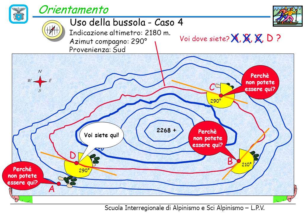 Scuola Interregionale di Alpinismo e Sci Alpinismo – L.P.V. Orientamento Individuazione della propria posizione sulla carta a partire dalle curve di l