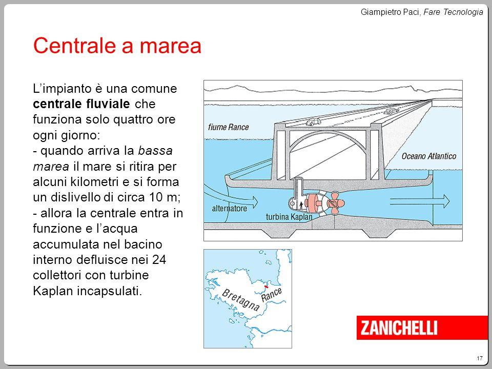 17 Giampietro Paci, Fare Tecnologia Centrale a marea L'impianto è una comune centrale fluviale che funziona solo quattro ore ogni giorno: - quando arr