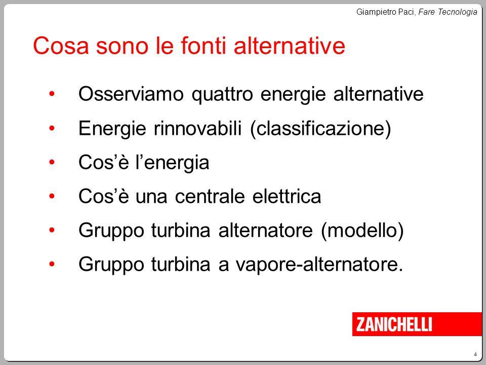 4 Giampietro Paci, Fare Tecnologia Cosa sono le fonti alternative Osserviamo quattro energie alternative Energie rinnovabili (classificazione) Cos'è l