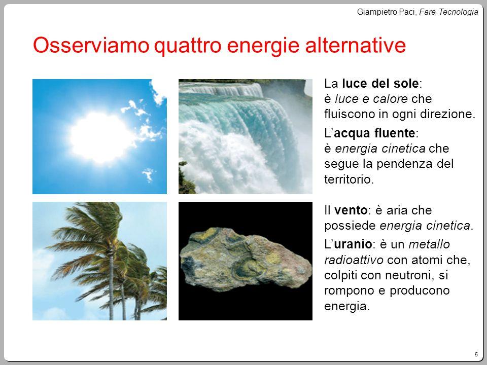 5 Giampietro Paci, Fare Tecnologia Osserviamo quattro energie alternative La luce del sole: è luce e calore che fluiscono in ogni direzione. L'acqua f