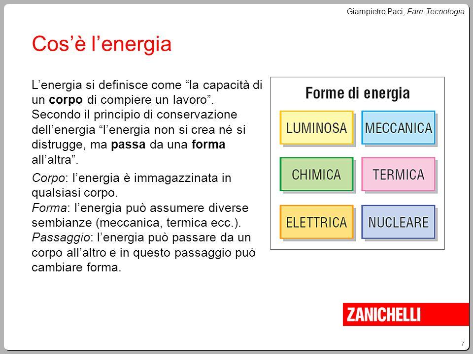 """7 Giampietro Paci, Fare Tecnologia Cos'è l'energia L'energia si definisce come """"la capacità di un corpo di compiere un lavoro"""". Secondo il principio d"""