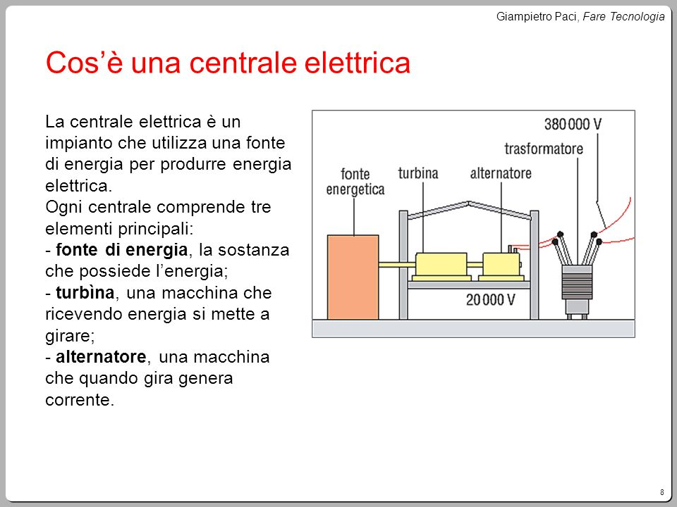 8 Giampietro Paci, Fare Tecnologia Cos'è una centrale elettrica La centrale elettrica è un impianto che utilizza una fonte di energia per produrre ene