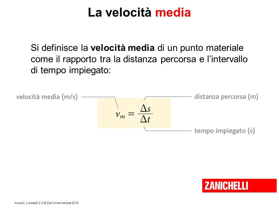 Amaldi, L'Amaldi 2.0 © Zanichelli editore 2010 La velocità media Si definisce la velocità media di un punto materiale come il rapporto tra la distanza