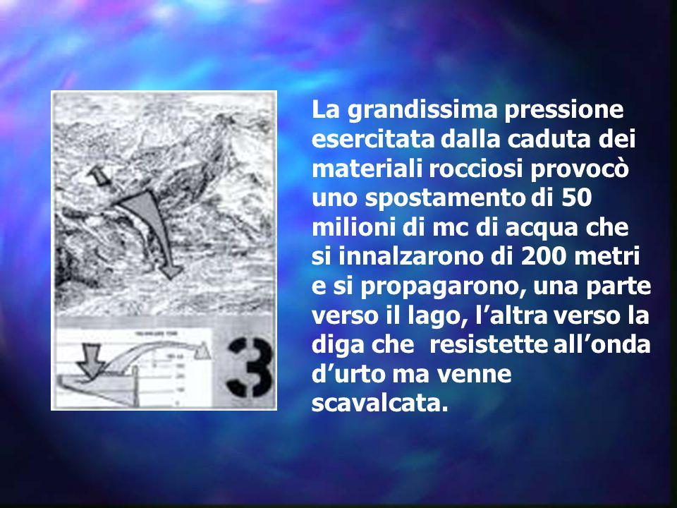 La grandissima pressione esercitata dalla caduta dei materiali rocciosi provocò uno spostamento di 50 milioni di mc di acqua che si innalzarono di 200