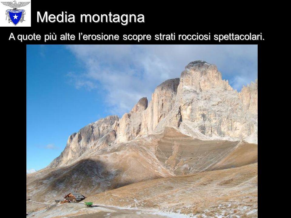 Media montagna A quote più alte l'erosione scopre strati rocciosi spettacolari.