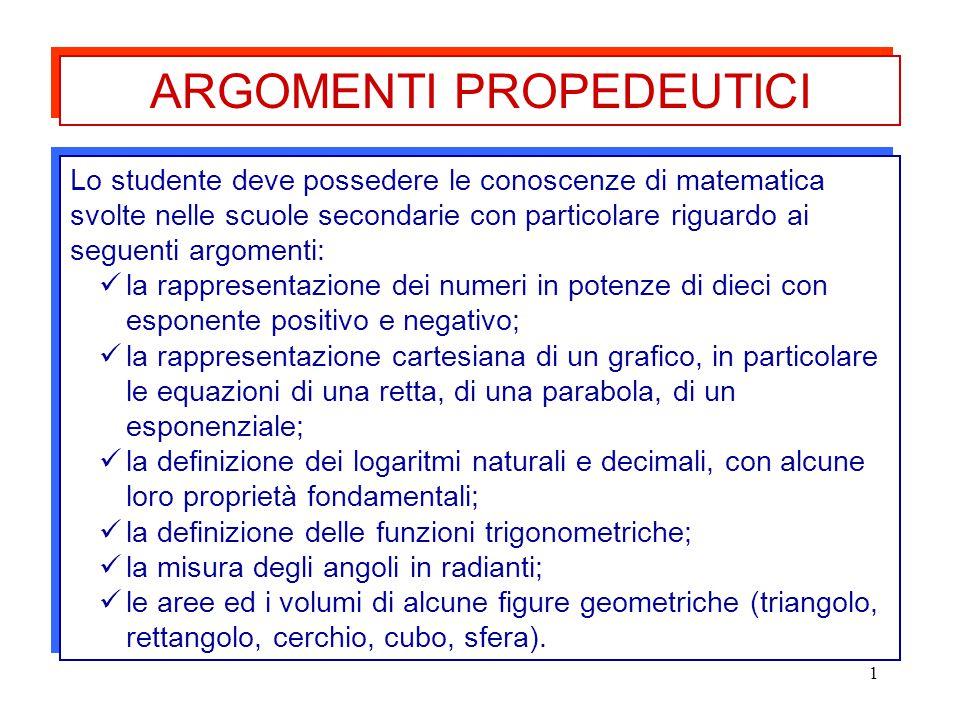 1 Lo studente deve possedere le conoscenze di matematica svolte nelle scuole secondarie con particolare riguardo ai seguenti argomenti: la rappresenta