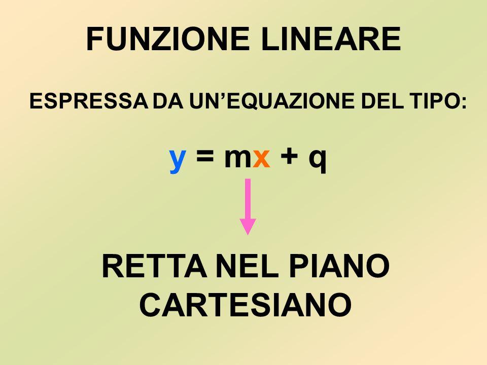 FUNZIONE LINEARE ESPRESSA DA UN'EQUAZIONE DEL TIPO: y = mx mx + q RETTA NEL PIANO CARTESIANO