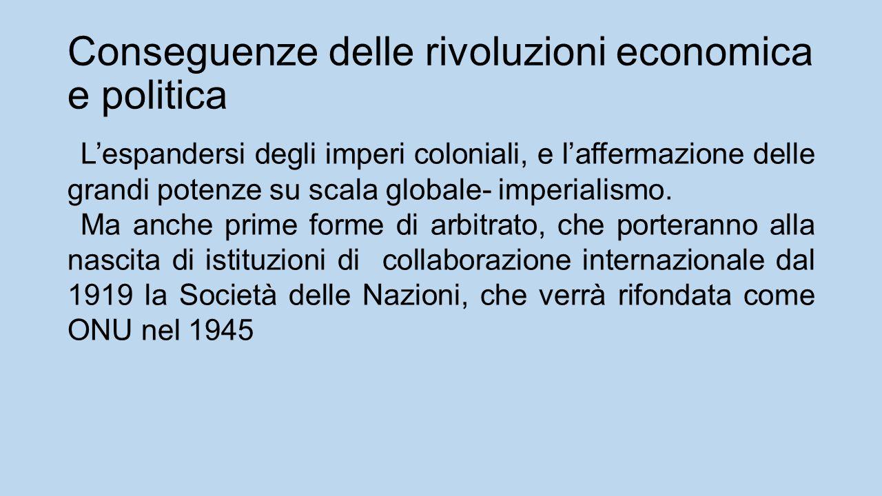 Conseguenze delle rivoluzioni economica e politica L'espandersi degli imperi coloniali, e l'affermazione delle grandi potenze su scala globale- imperialismo.