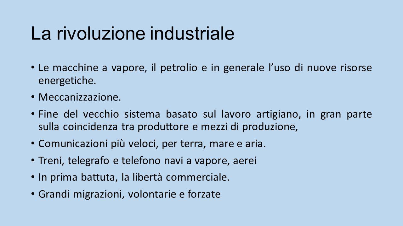 La rivoluzione industriale Le macchine a vapore, il petrolio e in generale l'uso di nuove risorse energetiche.