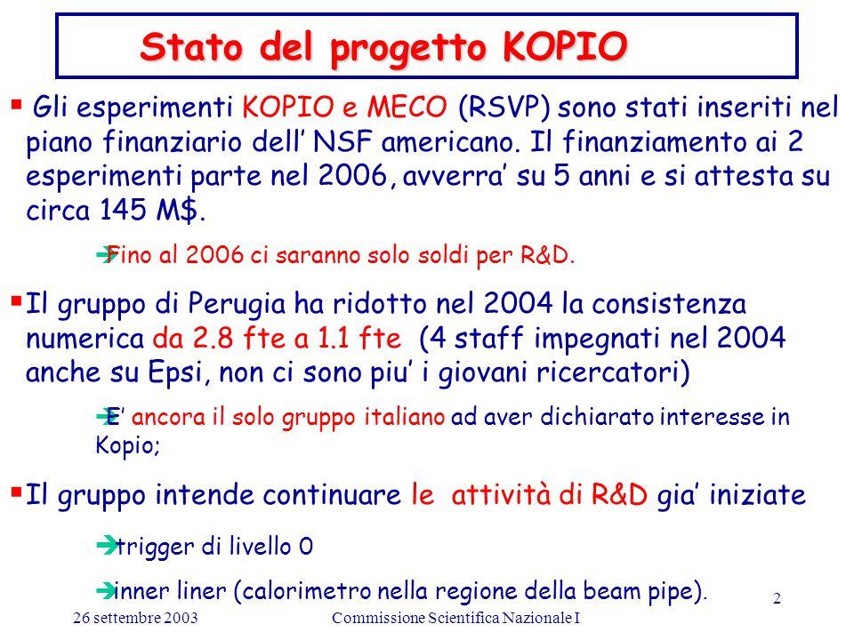 26 settembre 2003Commissione Scientifica Nazionale I 2  Gli esperimenti KOPIO e MECO (RSVP) sono stati inseriti nel piano finanziario dell' NSF americano.