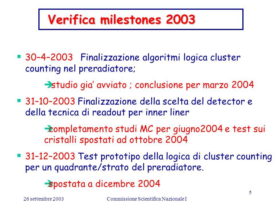 26 settembre 2003Commissione Scientifica Nazionale I 5 Verifica milestones 2003 Verifica milestones 2003  30–4–2003 Finalizzazione algoritmi logica cluster counting nel preradiatore;  studio gia' avviato ; conclusione per marzo 2004  31–10–2003 Finalizzazione della scelta del detector e della tecnica di readout per inner liner  completamento studi MC per giugno2004 e test sui cristalli spostati ad ottobre 2004  31–12–2003 Test prototipo della logica di cluster counting per un quadrante/strato del preradiatore.