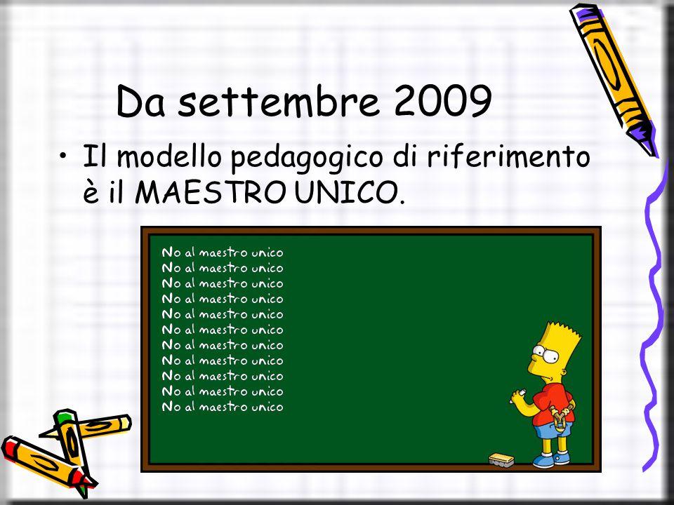 Da settembre 2009 Il modello pedagogico di riferimento è il MAESTRO UNICO.