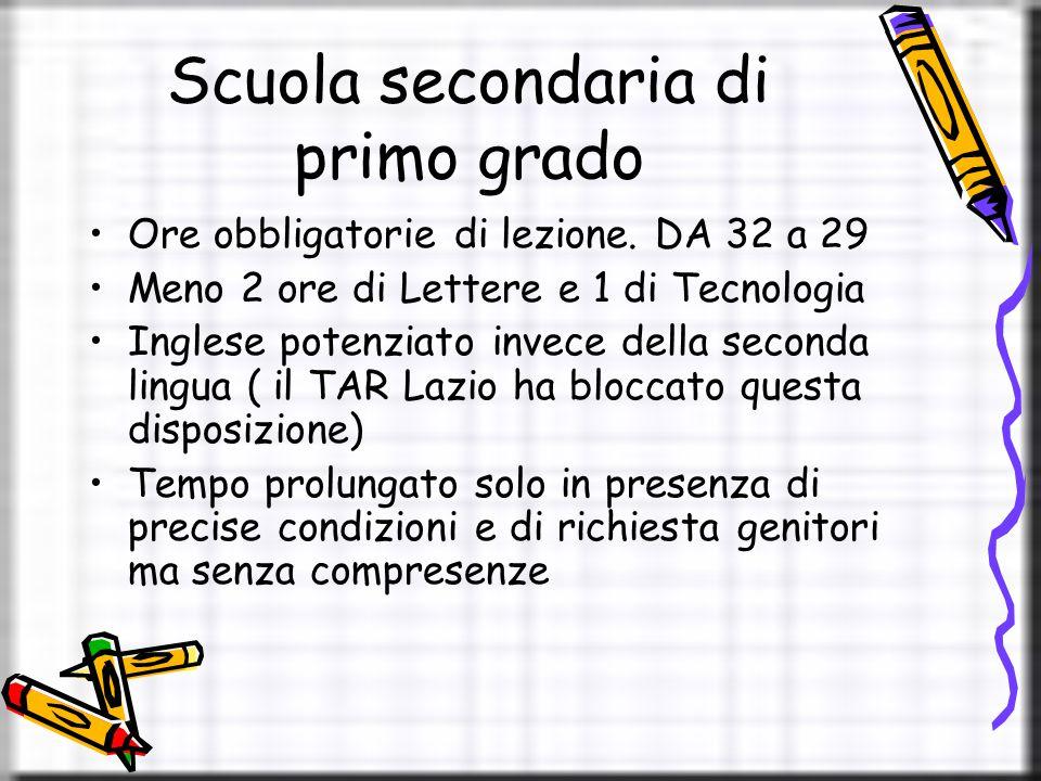 Scuola secondaria di primo grado Ore obbligatorie di lezione.
